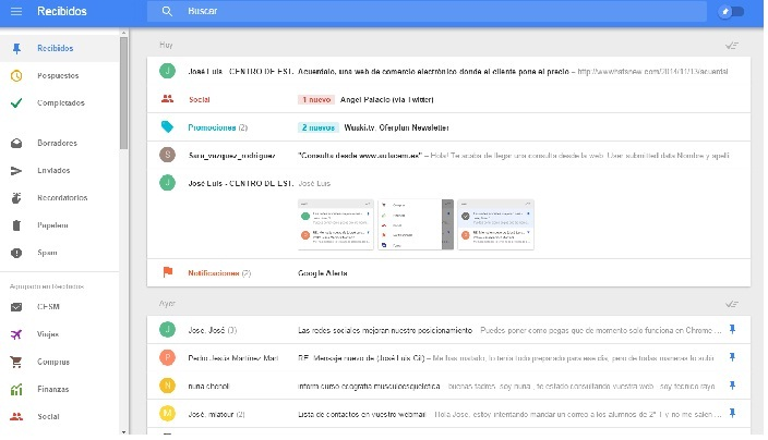 interfaz inbox by gmail