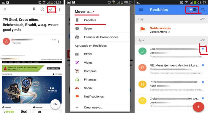 opciones de Inbox app móvil