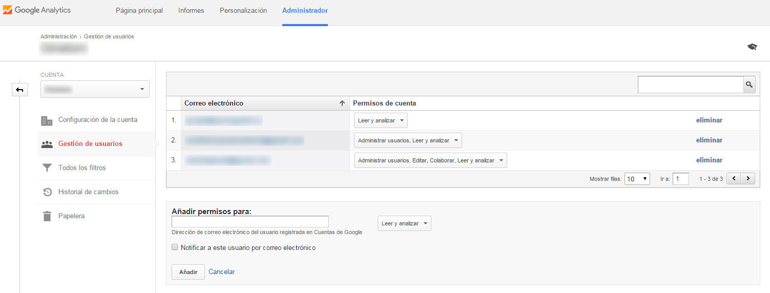 gestionar usuarios google analytics