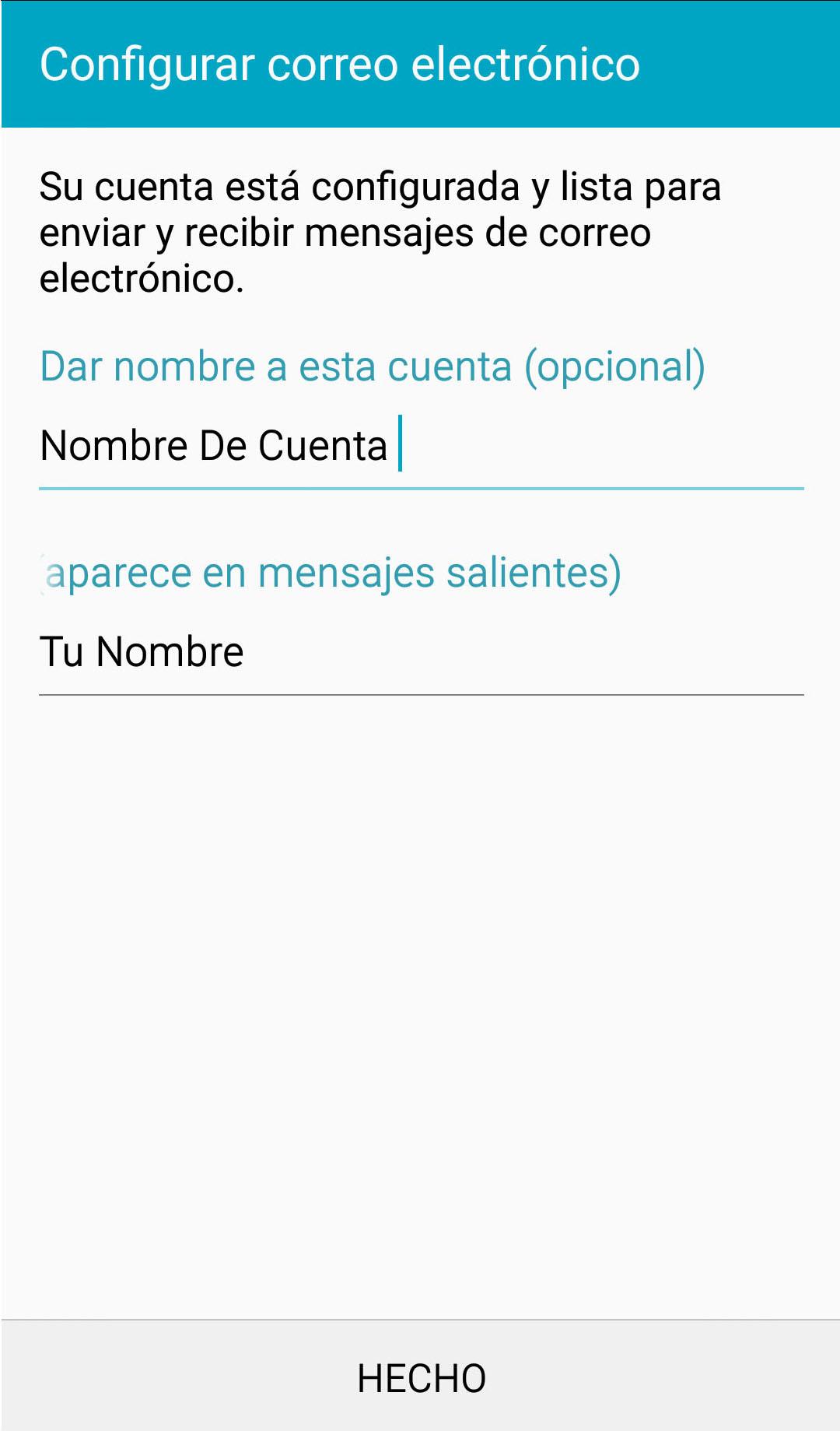 android correo nombre de cuenta