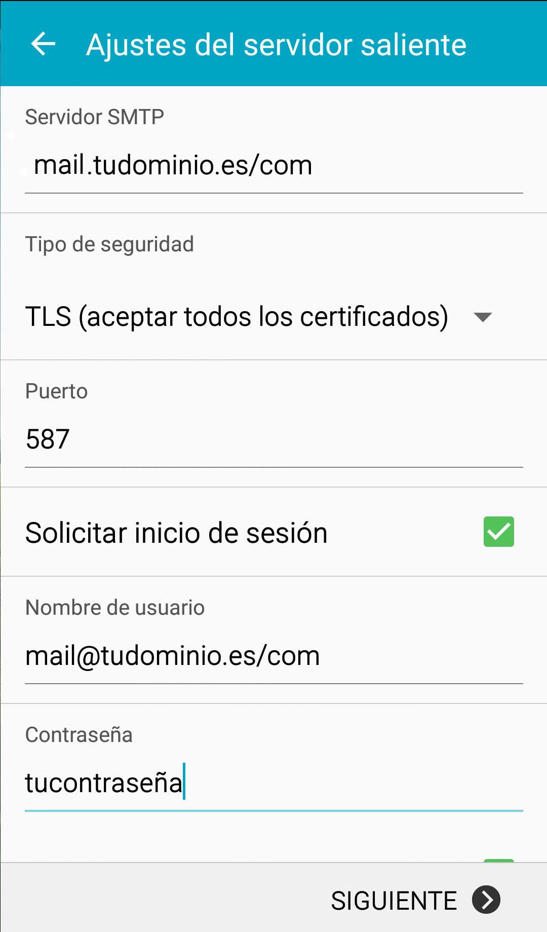 android correo servidor saliente