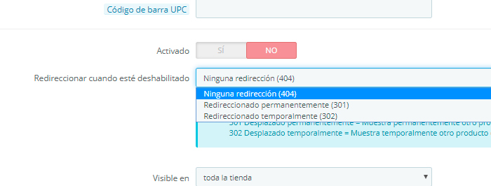 redireccion 301 seo prestashop