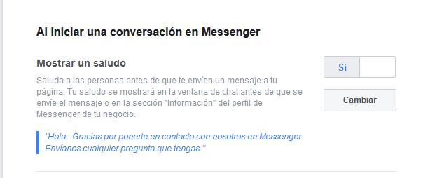 Mensaje de inicio para Messenger