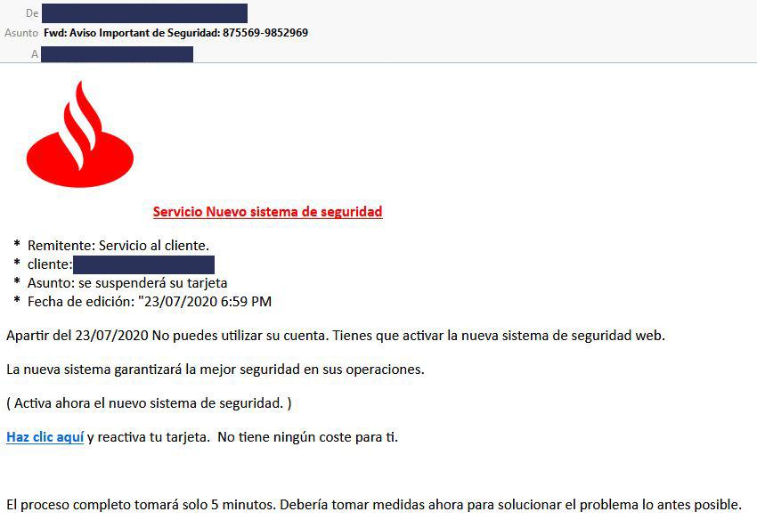 Email fraude entidad bancaria